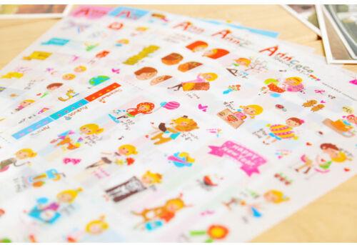 6 sheet AnnCoco boy Girl calendar Notebook Diary Scrapbooking Deco PVC Sticker