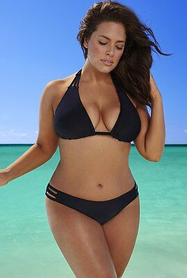 Sexy Women Plus Size Swimwear Bikini Halterneck Bandage Padded Triangle Swimsuit
