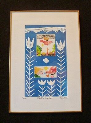 """SWEET! Signed KIKI Suarez Etching /""""Day and Night/"""" /""""Dia y Noche/"""" 1996 500 ed"""