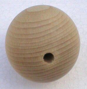 Holzkugeln-40-mm-Kugel-mit-kompletter-Bohrung-Buche-natur-Rohholzkugeln