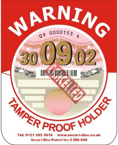 MV1 Red /& White Tamper Proof Document Tax Disc Holder Secur-i-Disc HGV