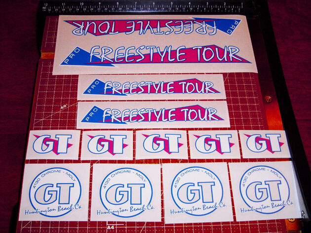 1986 GT BMX Pro Freestyle Tour, restoration decals on clear MAGENTA THIN