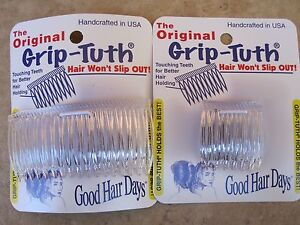 """Clear Grip-Tuth Comb 1 1/2"""" 2 Pack & 3 1/4"""" 2 Pack = 4 Combs Good Hair Days USA"""