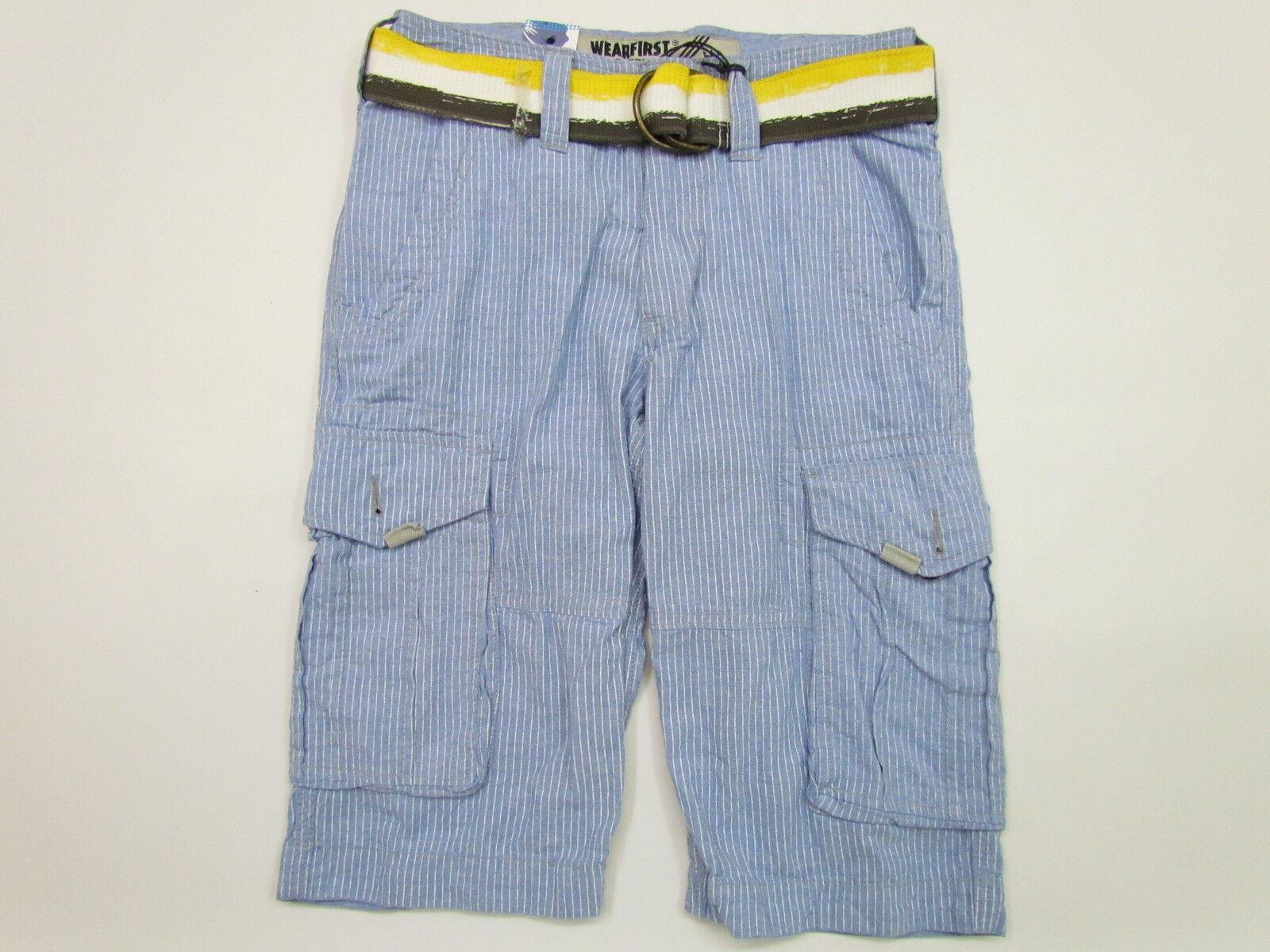 WEARFIRST Mens blueE w WHITE STRIPES CARGO SHORTS w SWEET BELT NWT 28