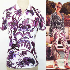 Sz XS NEW $890 GUCCI Resort Purple White PAISLEY Floral Cotton Polo Collared TOP