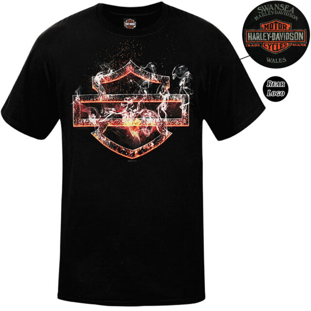 Harley Davidson Mens Scorcher Black T-Shirt Swansea Limited Edition
