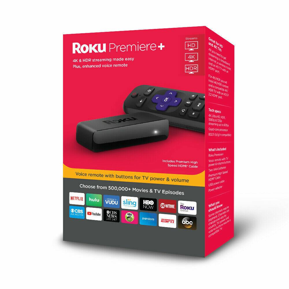 New Roku Premiere+ Digital Media Streamer with Voice Remote 4K/HDR/HD- 3921RW 3921rw digital media new remote roku streamer voice with