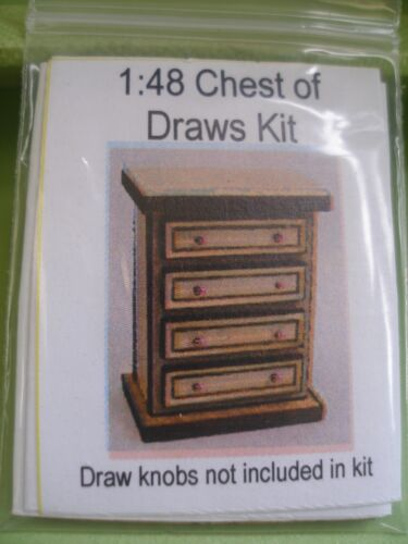 DOLLHOUSE MINIATURE TINY CHEST OF DRAWERS KIT 1:48 SCALE SUIT DOLL OR FAIRY
