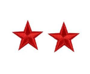 A Set of 2 Red Stars - Embroidered Iron on / Sew on patch / Applique / Badge