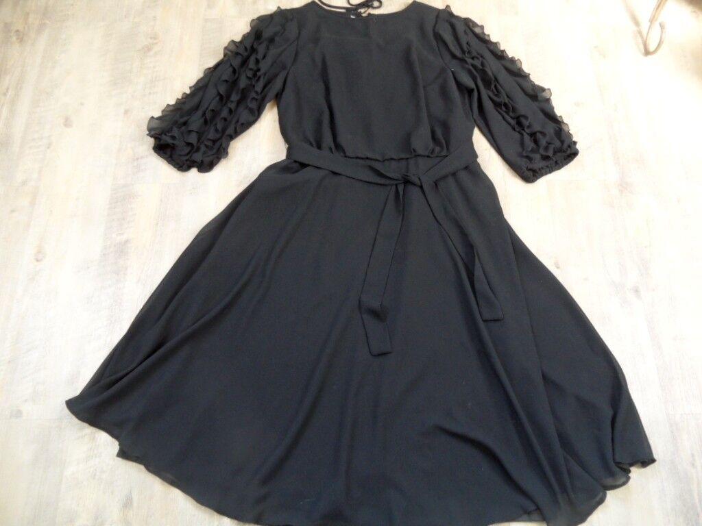 Sporting dress Miniabito abito leggero VOLANT MANICHE NERO MIS. 42 Top näs1017
