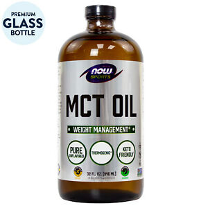NOW MCT Oil Liquid 32 oz, Premium Glass Bottle, Limited Edition FREE SHIPPING