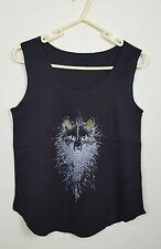 VTG BLACK WOLF NOVELTY HIPPY FESTIVAL OVERSIZED URBAN RENEWAL VEST TOP VGC 10-12