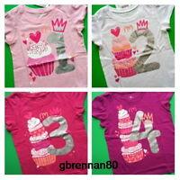 1st 2nd 3rd 4th Birthday Girls Cupcake Princess Shirts 12-18 M 2t 3t 4t 5t