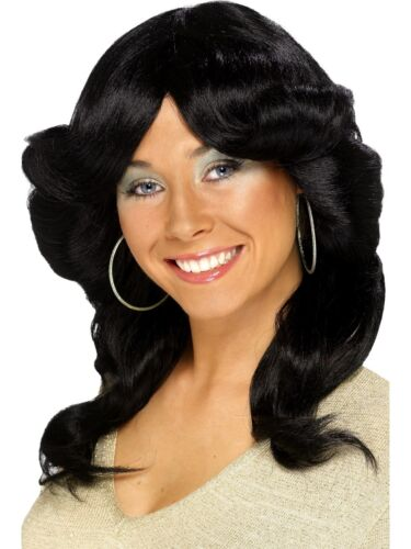 Long Wavy Flick Wig 60s 70s 80s Disco Diva Ladies Fancy Dress Charlies Angels