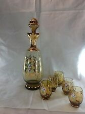 Mid Century Glass Decanter Shot Glass Set  Hand Painted Flowers Italian