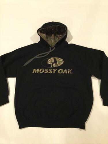 NEW X-Large Authentic Men/'s Mossy Oak Black Pullover Sweatshirt Hoodie