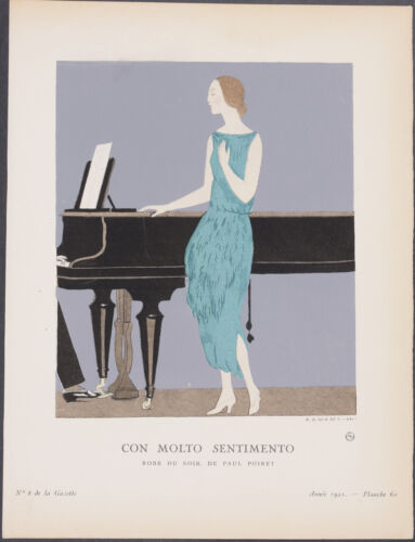 Bon Ton by Marty Poiret 60-1921 Vintage Fashion Pochoir Con Molto Sentimento