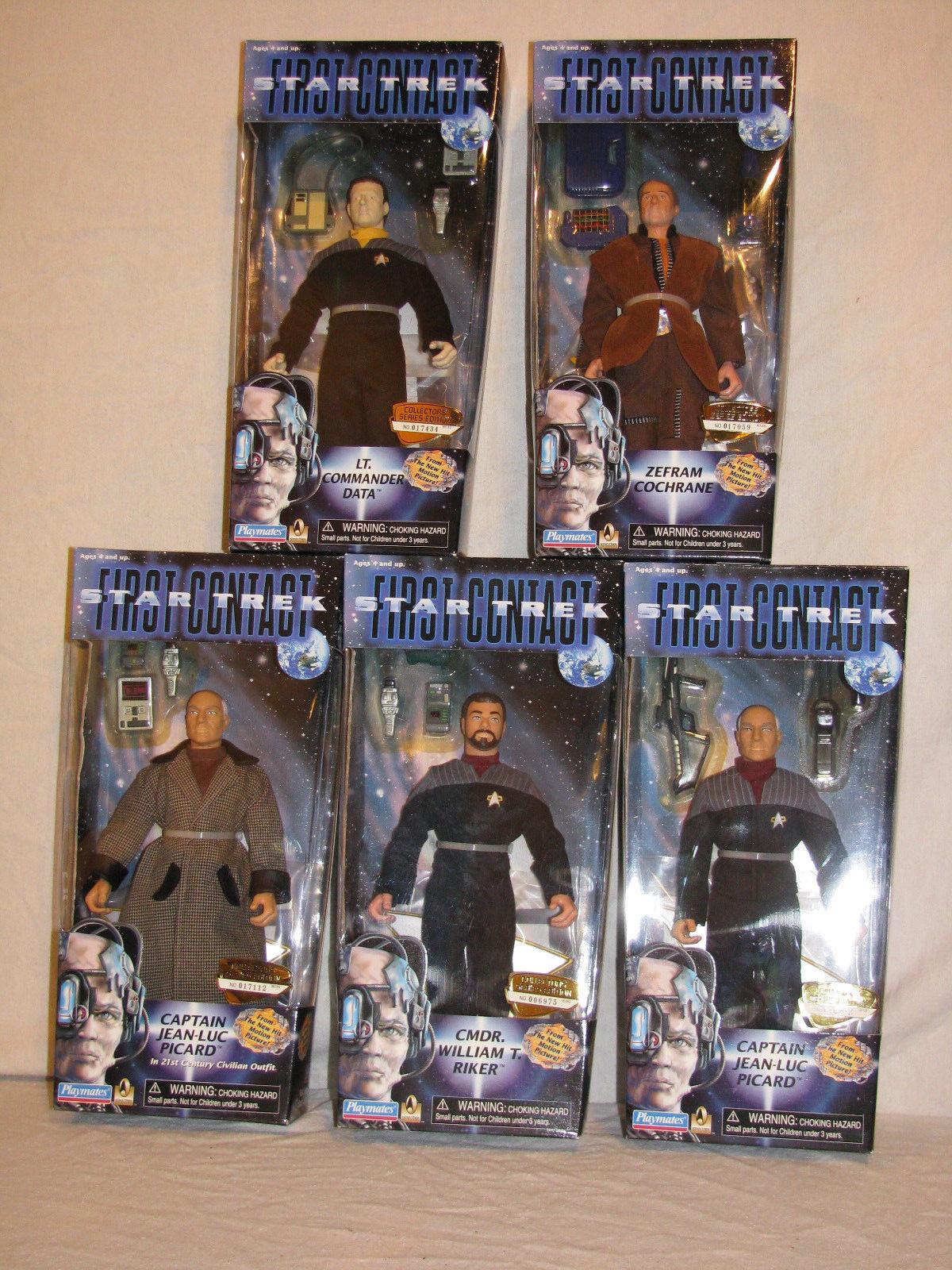 Star Trek 5- 9  Movie Figures- First Contact - Cochrane, Data, Picard, Riker Etc