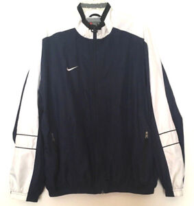 Nike-Men-039-s-Windbreaker-Jacket-Vintage-Logo-Full-Zip-Retro-Navy-Blue-White-Size-L