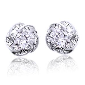 Image Is Loading Channel Set Diamond Baguette Flower Clear Stud Earrings