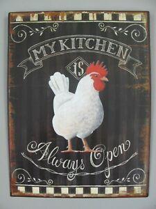 9977665-x Retro Vintage Tin Sign Chicken My Kitchen Always Open 25x33cm