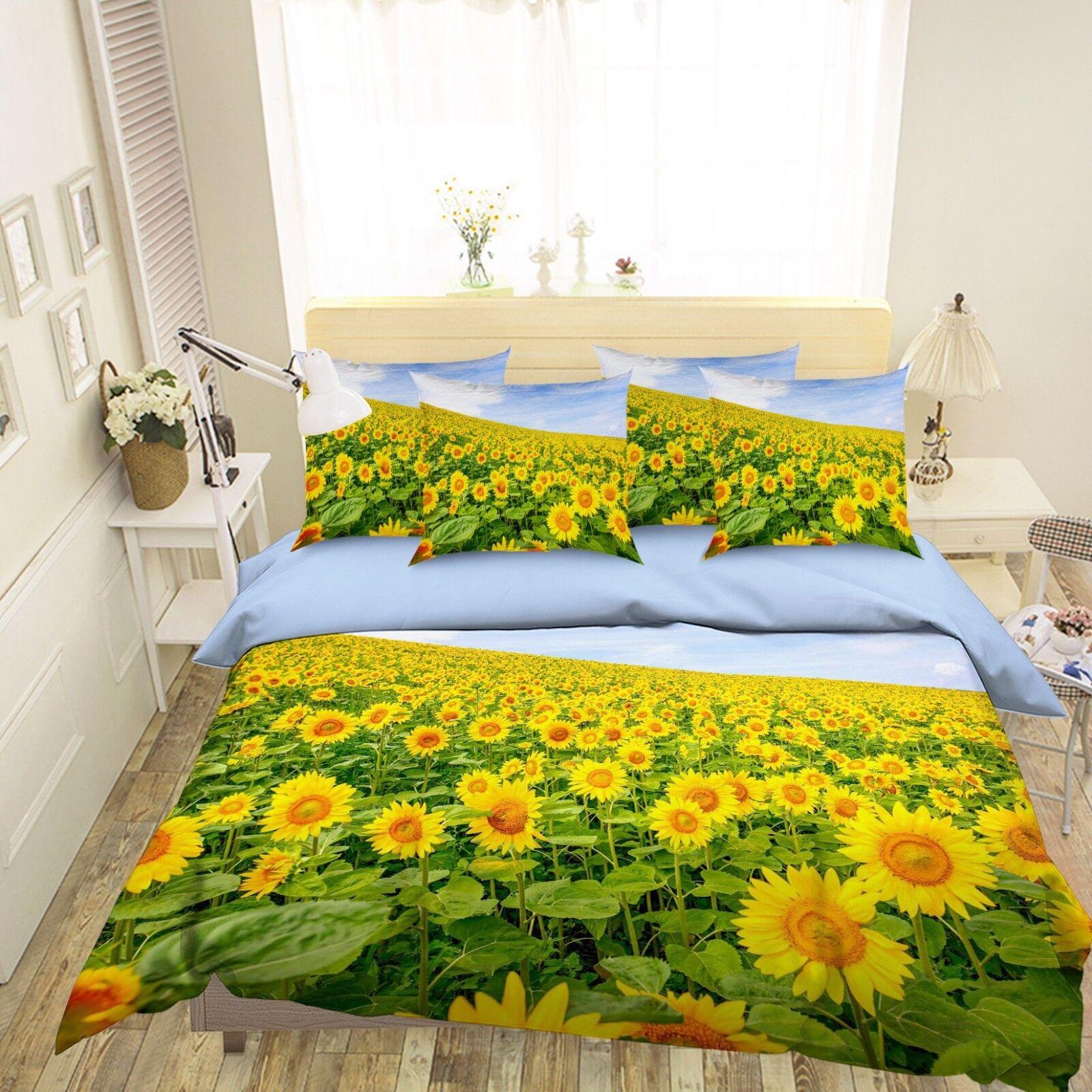 3D Sunflowers Plant 2 Bed Pillowcases Quilt Duvet Single Queen King US Summer