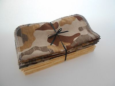 "Obedient Cloth Wipes 20 Baby Flannel 8""x8"" Boy Camo Brown Tissue Washcloth Tp 1 Or 2 Ply Diapering"