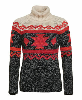 New Womens Superdry Unique Sample Tribal Fairisle Rollneck Size Small Navy