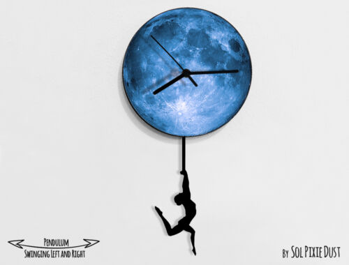 Gymnastic Acrobat swinging on the moon 1 Pendulum Wall Clock