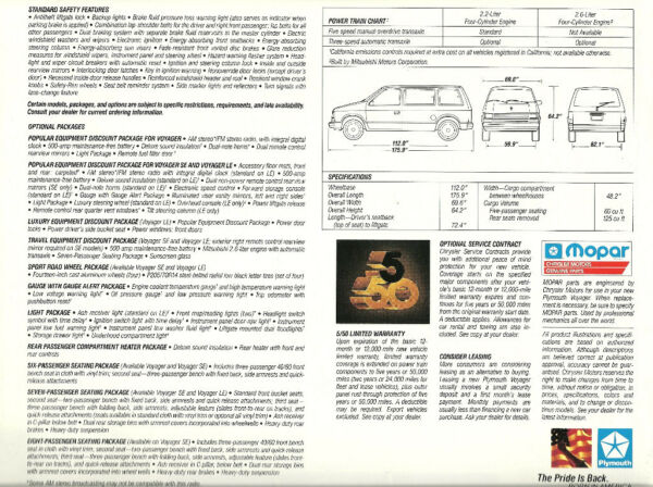 1987 Plymouth VOYAGER VAN Brochure / Catalog / Pamphlet with Color