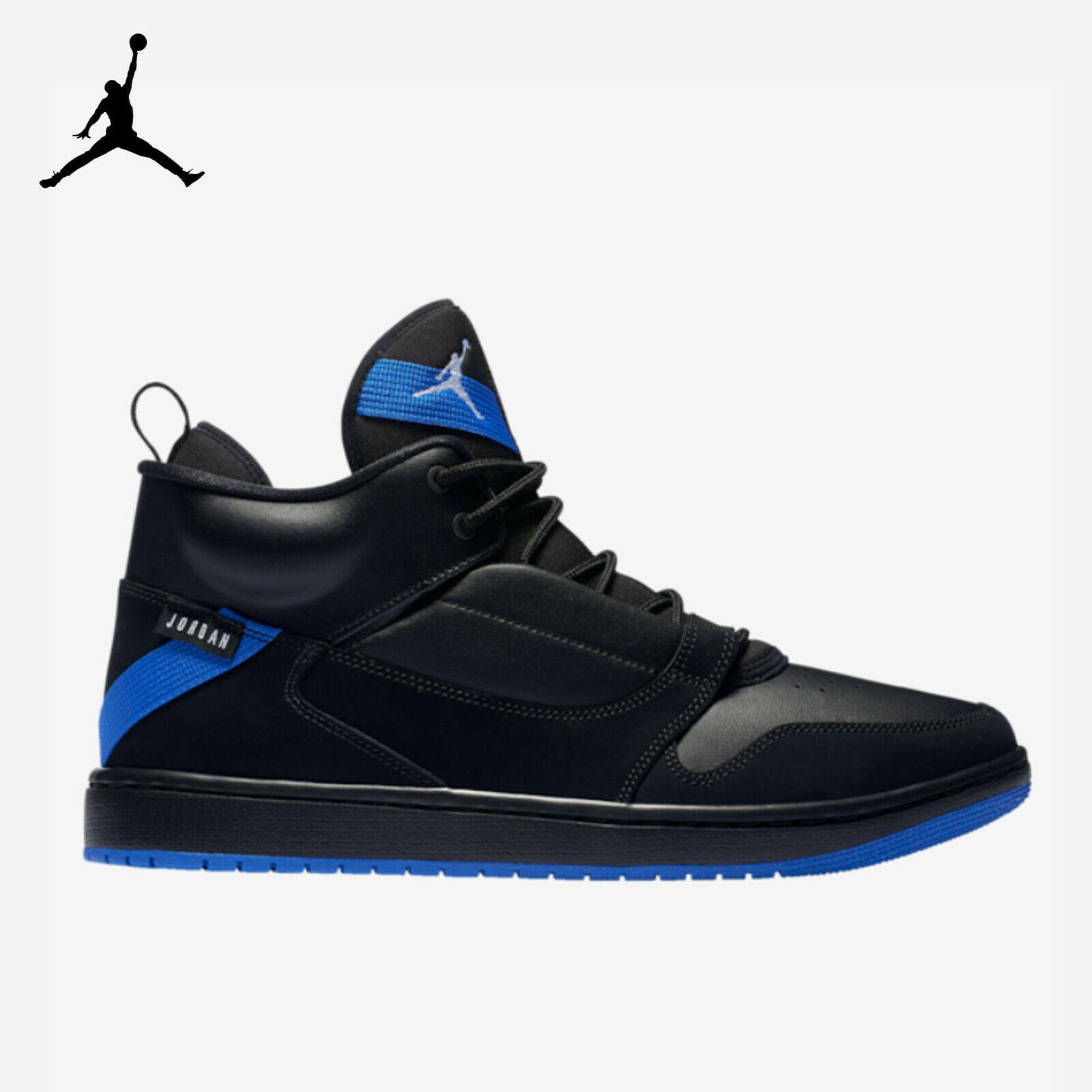 Para hombres Cuero Superior Jordan Fadeaway Negro Hyper Royal (AO1329 041)