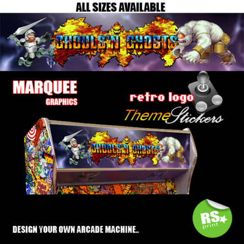 Ghouls and Ghosts Arcade MARQUEE Stickers ARTWORK graphique//Laminé Toutes Tailles