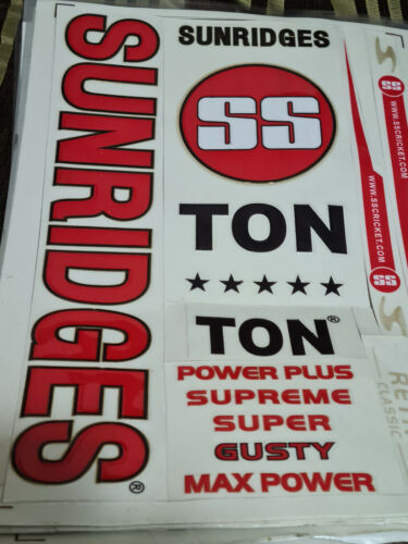 ONE 3D STICKER *3D//EMBOSSED* RETRO SS SUNRIDGES RED CRICKET BAT STICKER