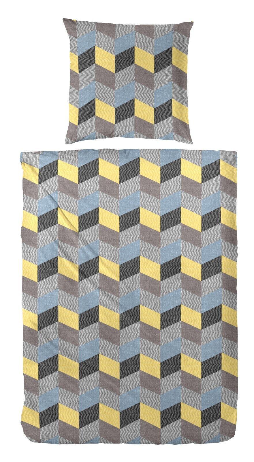 4 tlg. Fein Biber Bettwäsche schwarz blau gelb 2x80x80+155x220 cm  173040-071B04