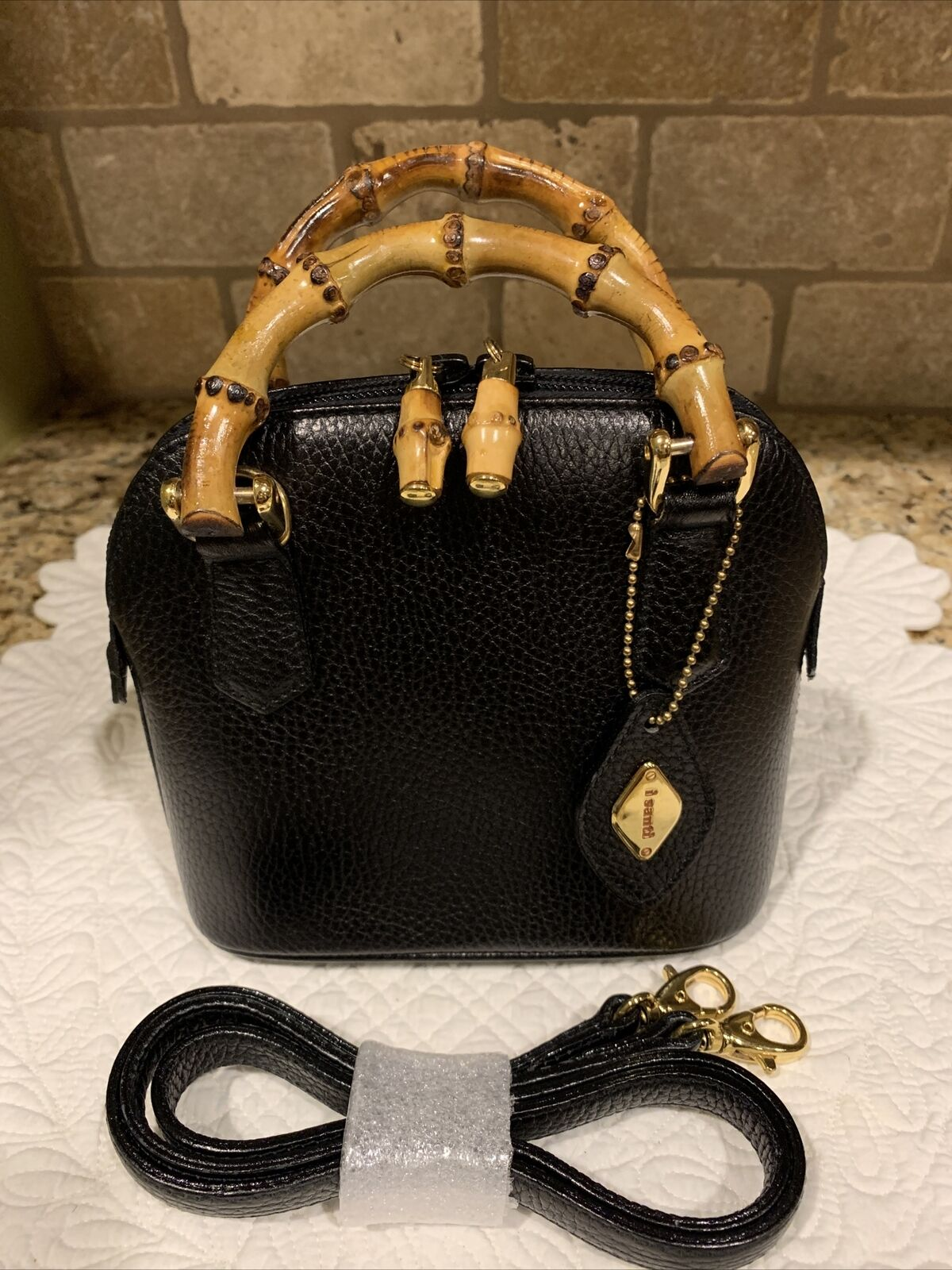 i santi mini Handbag Black Leather Serialized Bamboo Small purse Italy Cute!!