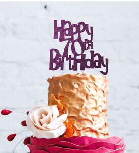 Image Is Loading Happy 70th Birthday Cake Topper Glittery Dark Purple