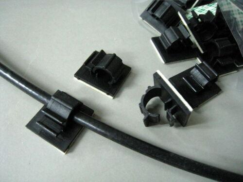 FWS1B 8mm Black Nylon Cable Clamp Self-adhesive Wire Clip Organizer #gtc x 30