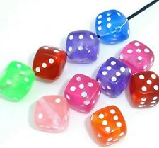 50pcs dice cube shaped beads acrylic 9mm diagonal hole