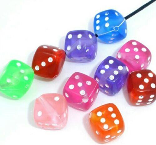 50 un cubo de dados en forma de perlas de acrílico 9mm agujero diagonal