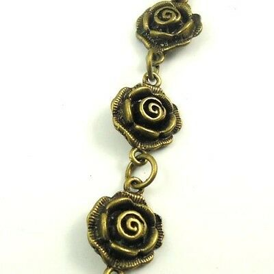 1M Antiqued Bronze Alloy Rose Flower Handmade Sweater Necklace Chain
