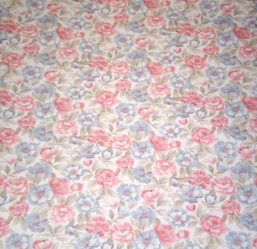 Satin Light Blue & Pink Floral on Off-White Wallpaper by Porcelain Prints 19506