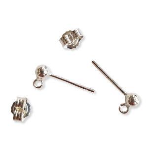 10Pcs 925 Sterling Silver Earrings Studs Ear Ball Post Back Jewelry Findings