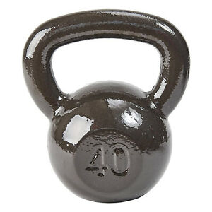 Everyday Essentials All Purpose Solid Cast Iron Single Kettlebell Weight, 40 lbs