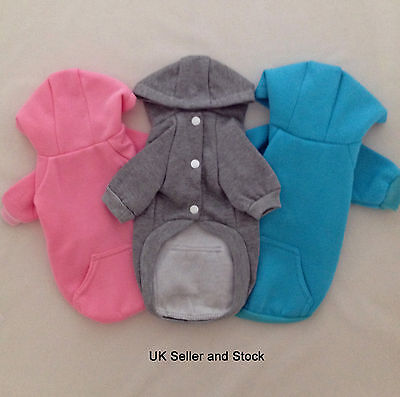 Small Dog Hoodie - Jumper  Coat Sweater - Button Fastening Fleece - Hoody