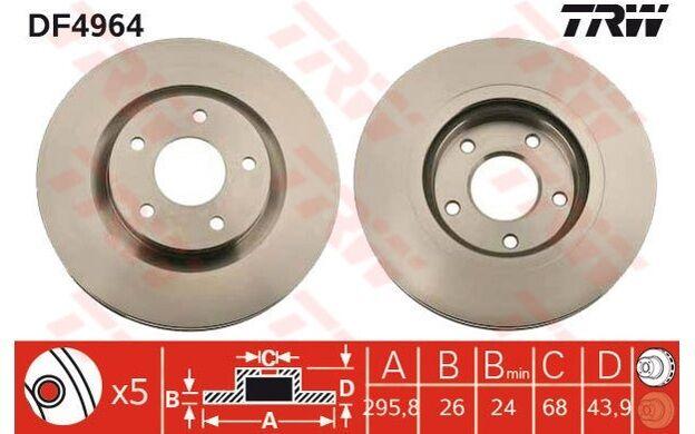 TRW Juego de 2 discos freno Antes 296mm ventilado RENAULT KOLEOS NISSAN DF4964