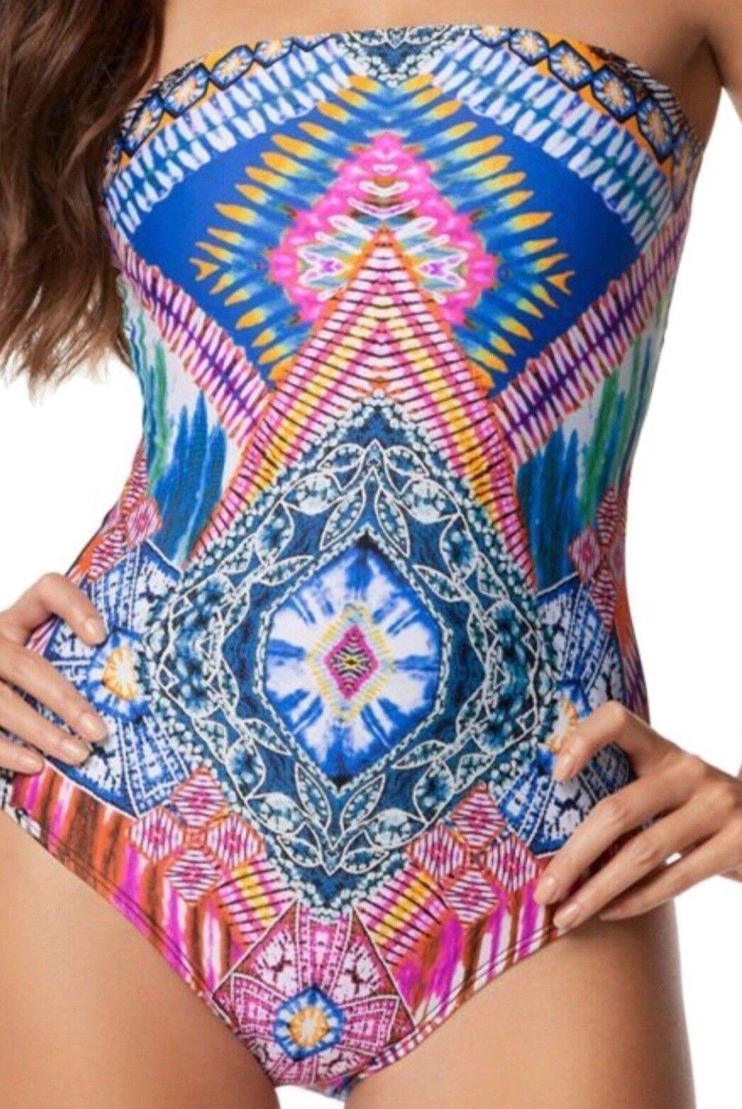 PilyQ  Hindi Kaleidoscope Strapless One Piece Swimsuit Size Medium  144+