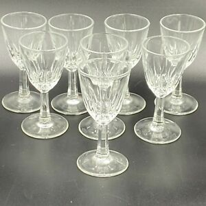 Vintage-Cordial-Glasses-Set-of-8-Clear-Crystal-Cut-Glass-3-5-034-Tall-GS