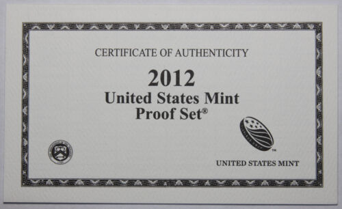 Supplies 2012-S Clad Proof Set COA ONLY NO COINS