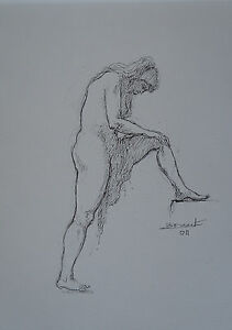 "Signed Pleasant To The Palate 1935/2012 - Ink "" Naked Female "" Bernard Druet"