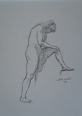 "1935/2012 Signed Knowledgeable Bernard Druet - Ink "" Naked Female """